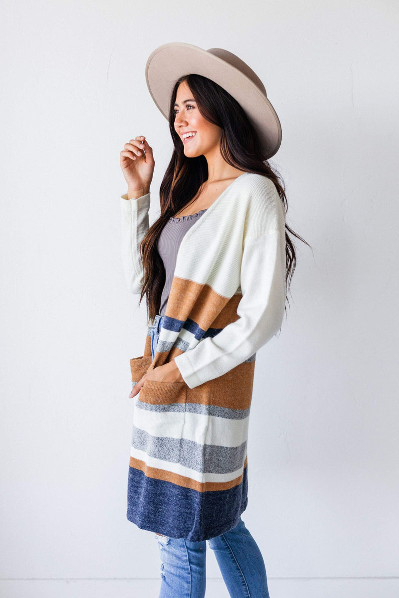 Tops Darcy Striped Cardigan Cream