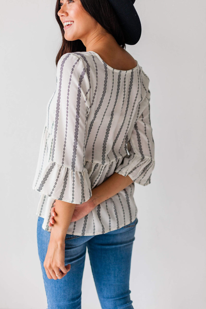 Tops Denise Pattern Top Ivory