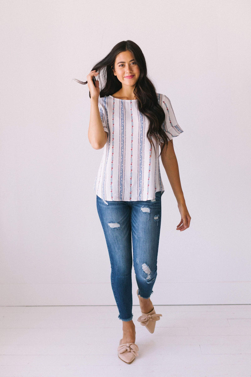 Tops Desiree Striped Floral Top Ivory