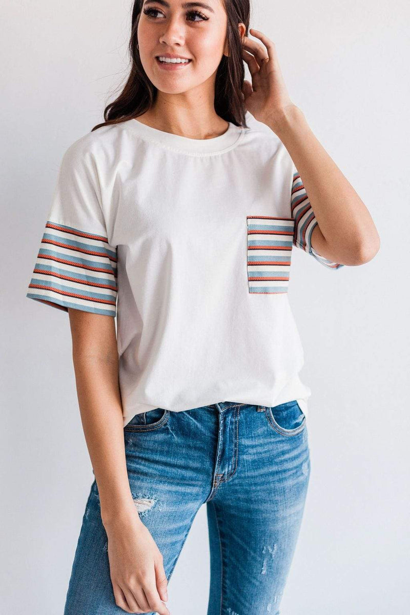 Tops Destiny Striped Tee Ivory