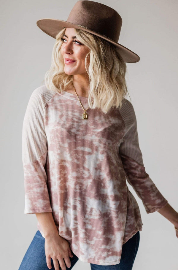 Tops Echo Tie Dye Thermal Top Mauve