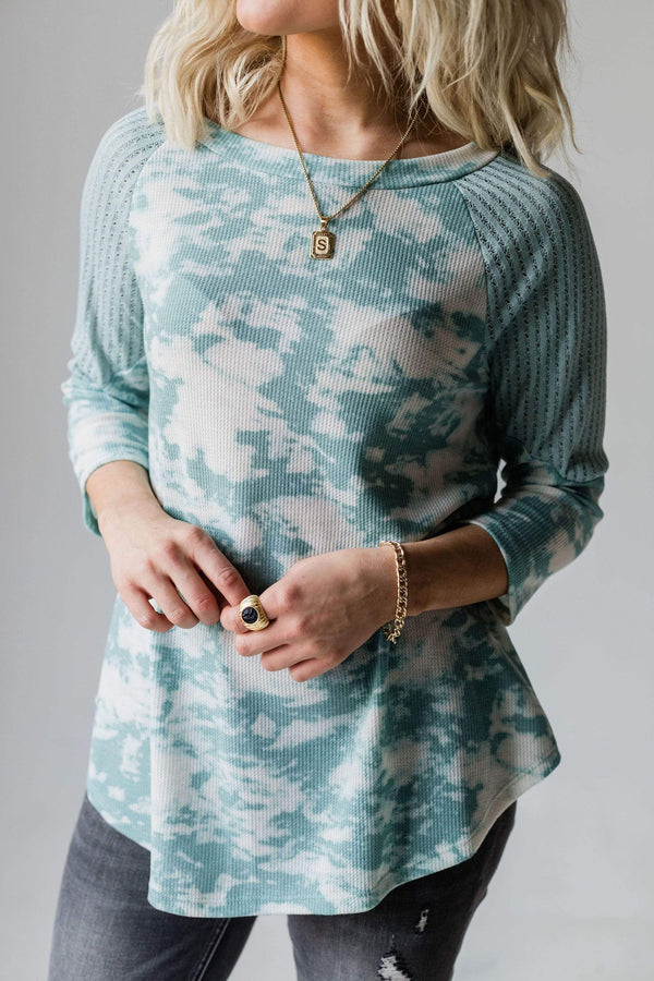 Tops Echo Tie Dye Thermal Top Sage
