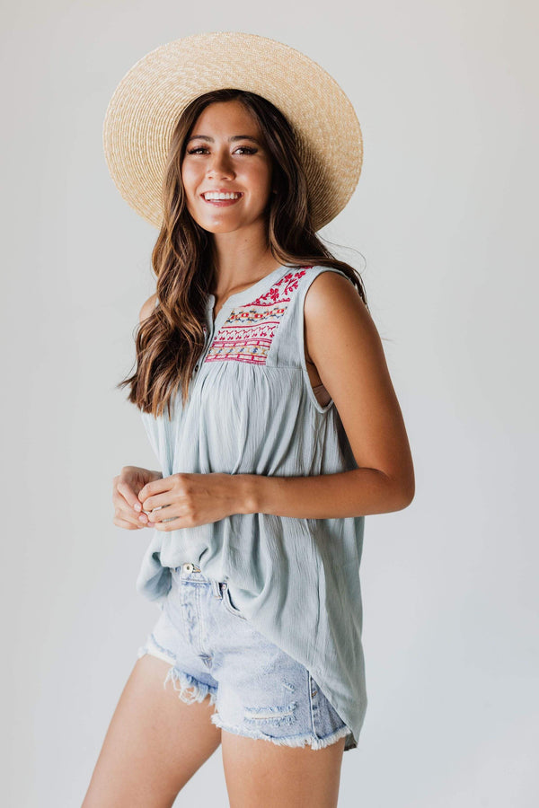 Tops Elliott Embroidered Tank Top Sage