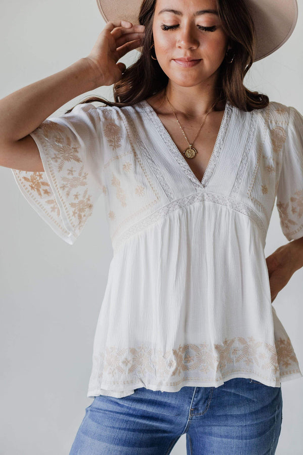 Tops Erica Embroidered Top Ivory
