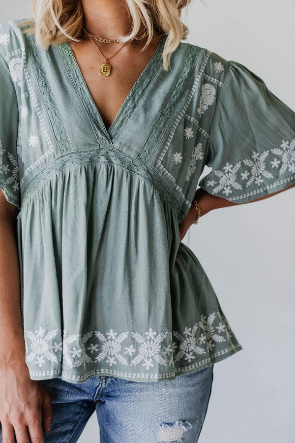 Tops Erica Embroidered Top Sage