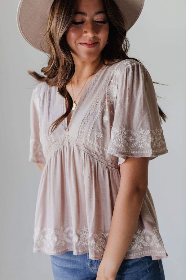 Tops Erica Embroidered Top Taupe