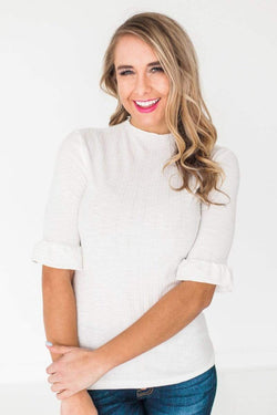 Tops Eva Ribbed Top Ivory