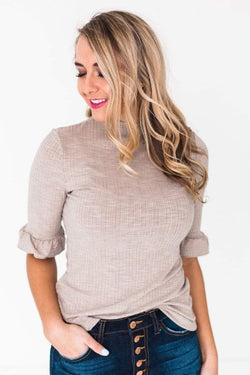 Tops Eva Ribbed Top Taupe