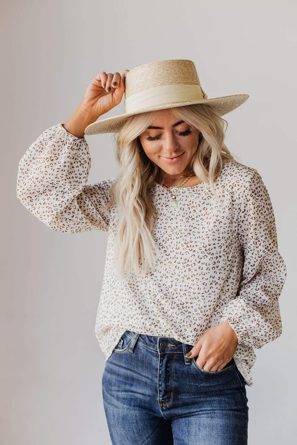 Tops Evalyn Flocked Leopard Puff Sleeve Top Ivory