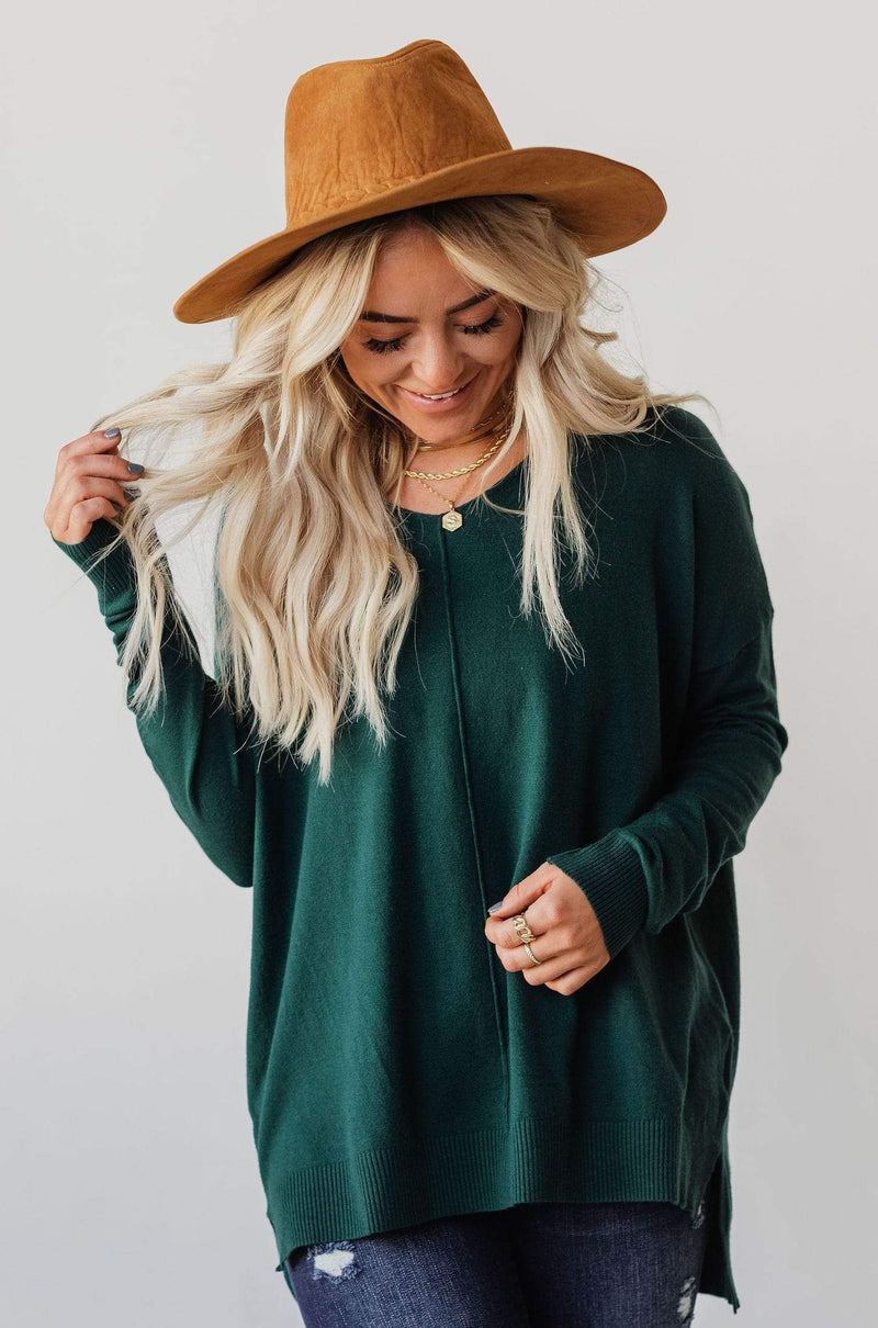 Tops EXCLUSIVE! Cam V Neck Sweater Hunter Green