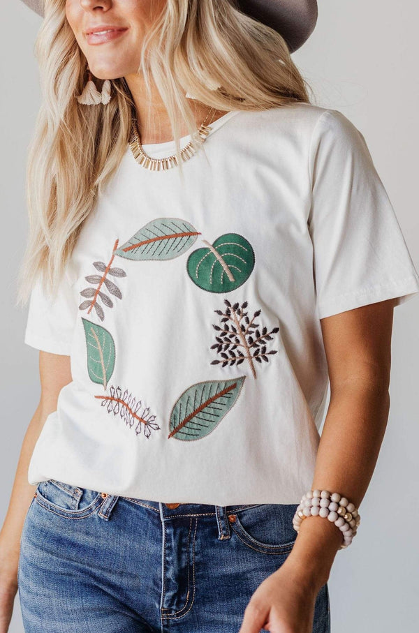 EXCLUSIVE! Julia Embroidered Leaf Circle Tee