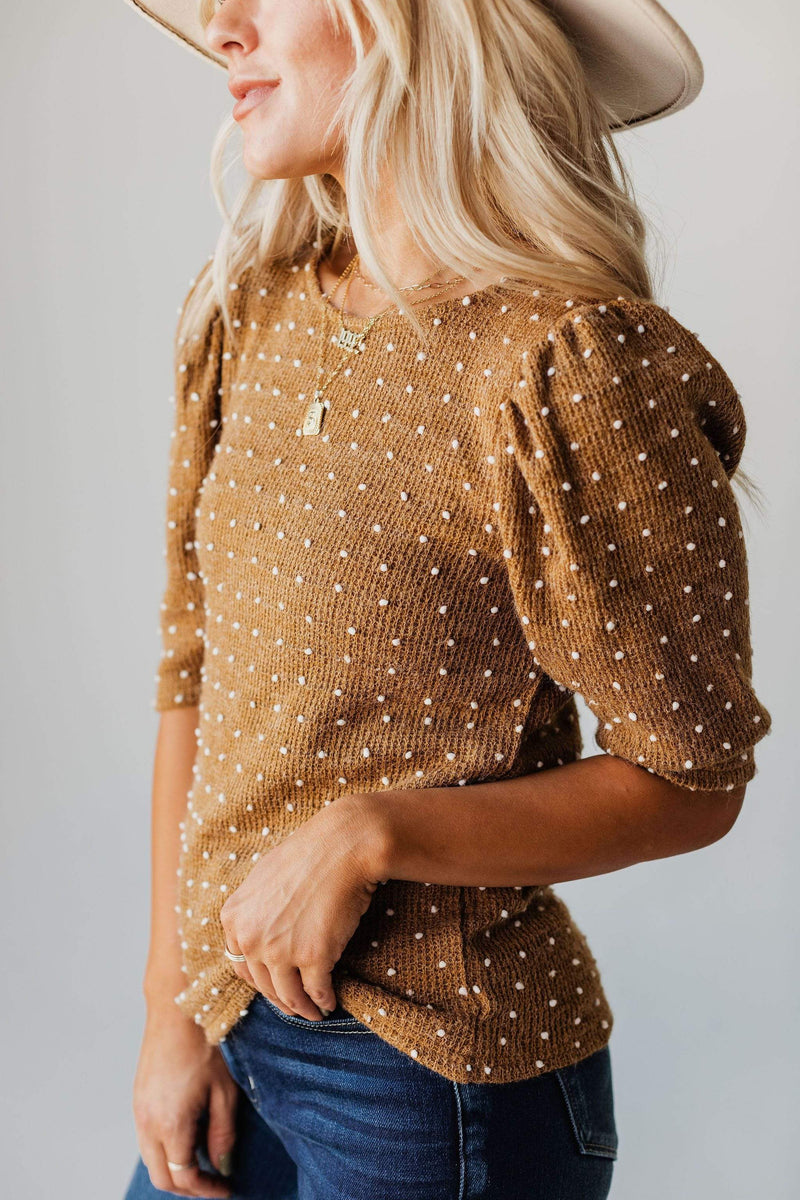 Tops EXCLUSIVE! Laura Polka Dot Short Sleeve Sweater Camel
