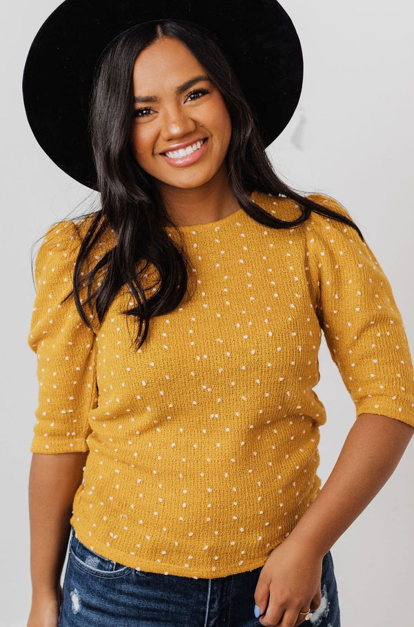 Tops EXCLUSIVE! Laura Polka Dot Short Sleeve Sweater Mustard