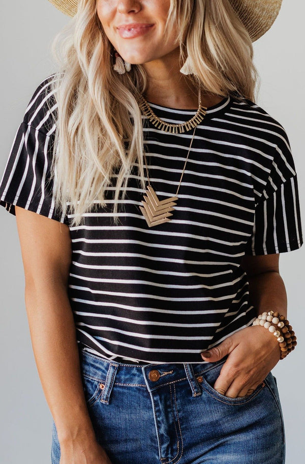 Tops EXCLUSIVE! Madeline Striped Tee Black