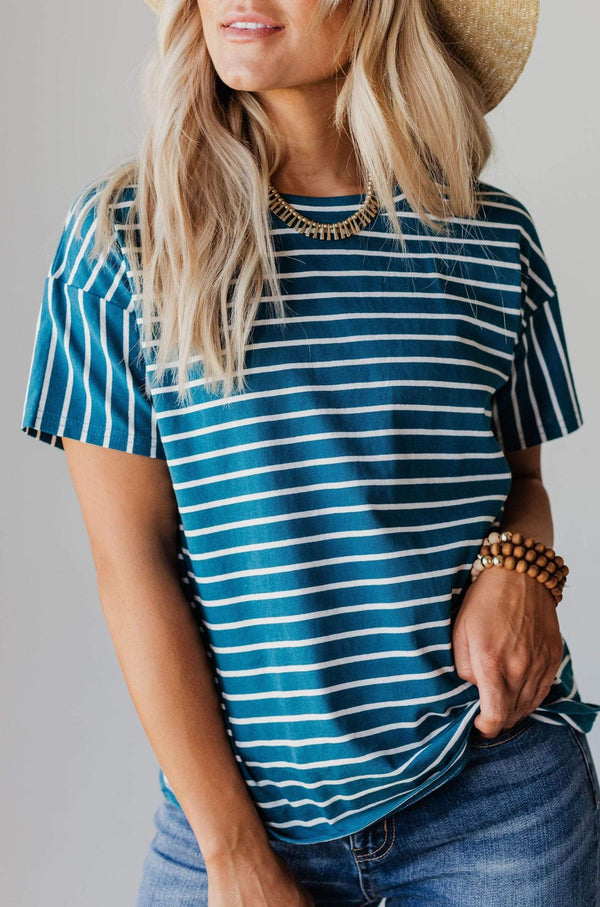 EXCLUSIVE! Madeline Striped Tee Teal