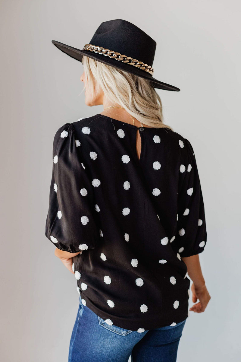 Tops EXCLUSIVE! Melissa Swiss Dot Top Black