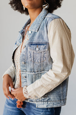 Tops EXCLUSIVE! Rebecca Denim Jacket With Corduroy Sleeves Bone