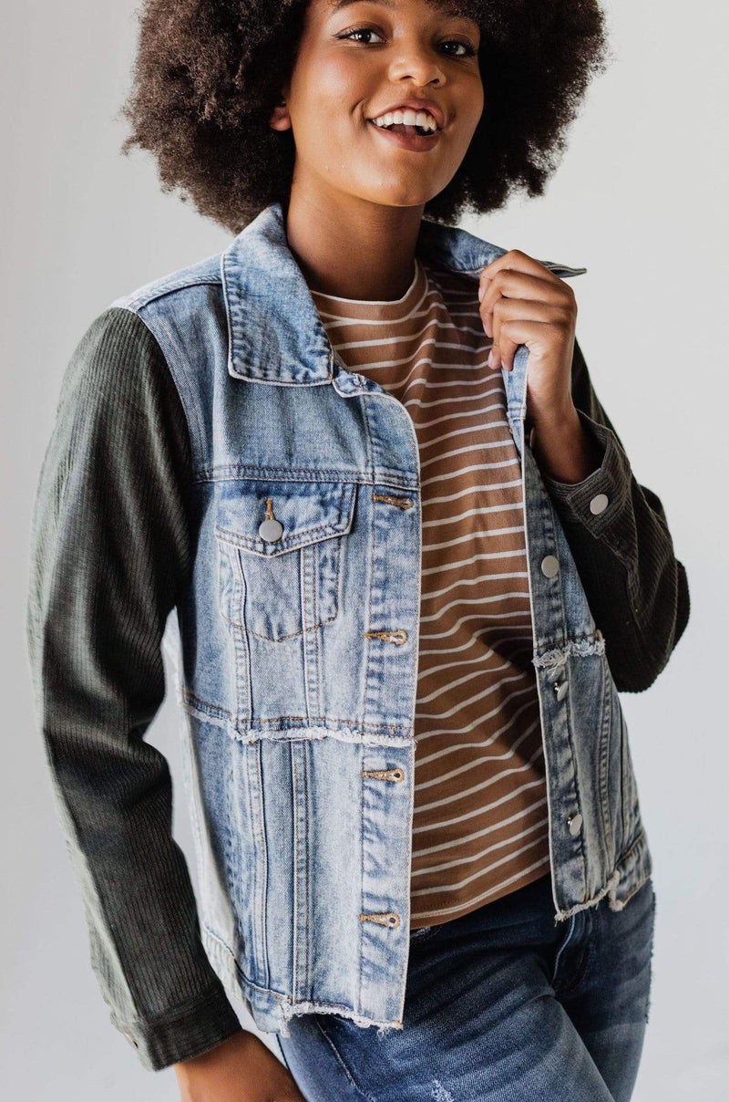 Tops EXCLUSIVE! Rebecca Denim Jacket With Corduroy Sleeves Olive