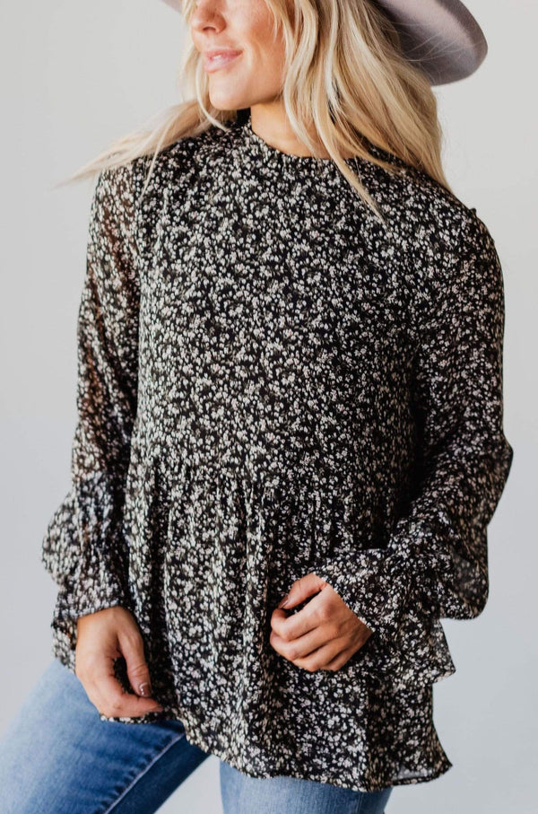 Tops EXCLUSIVE! Stella Long Sleeve Floral Peplum Black