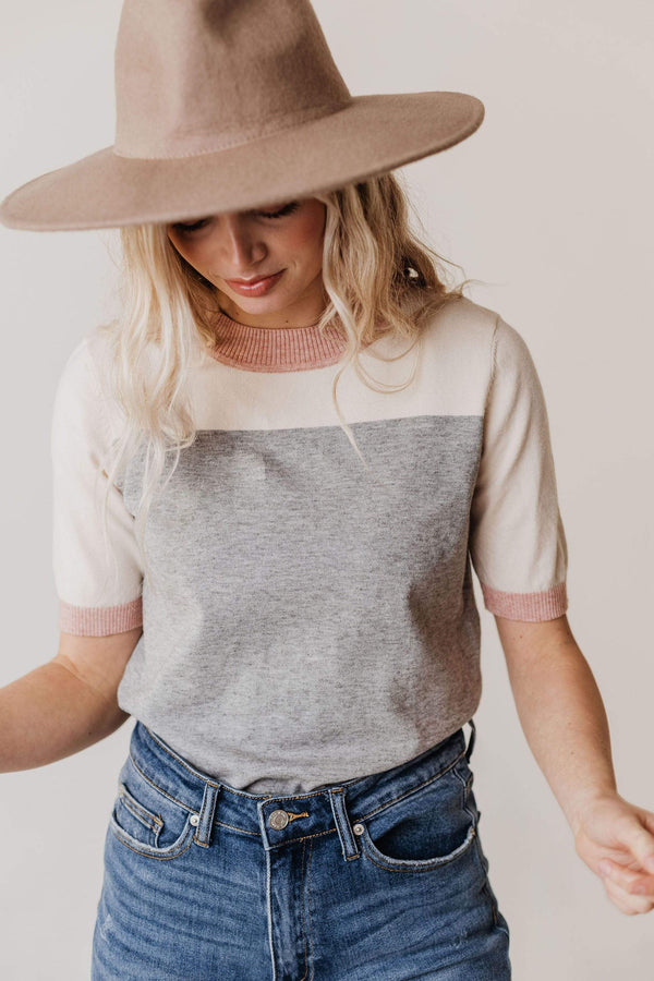 Tops EXCLUSIVE! Taysia Colorblock Short Sleeve Sweater Heather Grey