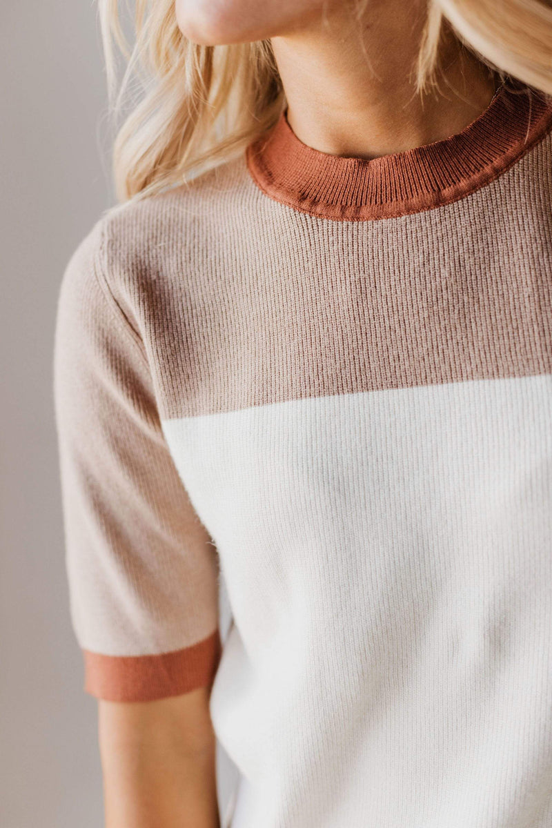Tops EXCLUSIVE! Taysia Colorblock Short Sleeve Sweater Ivory