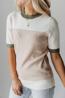 Top: Sweater EXCLUSIVE! Taysia Colorblock Short Sleeve Sweater Taupe