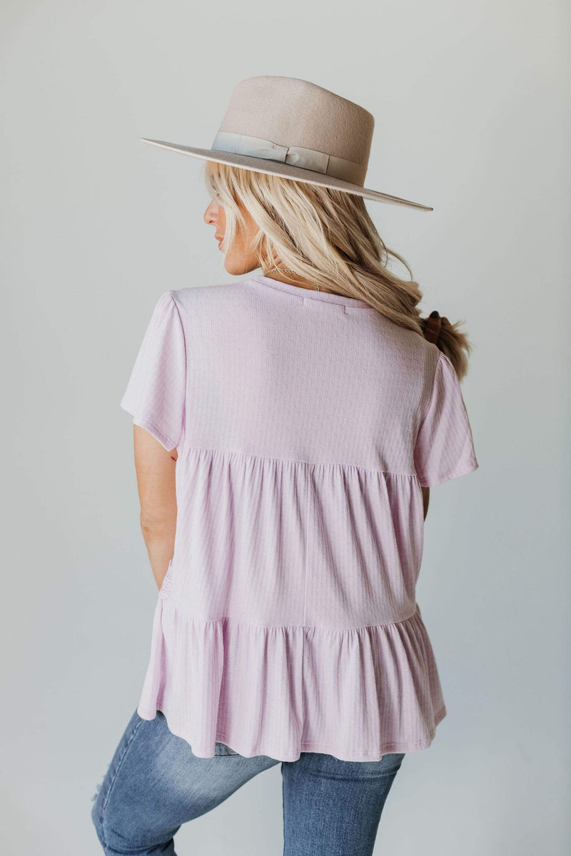 Tops Faye Lace Trim Layered Peplum Lilac