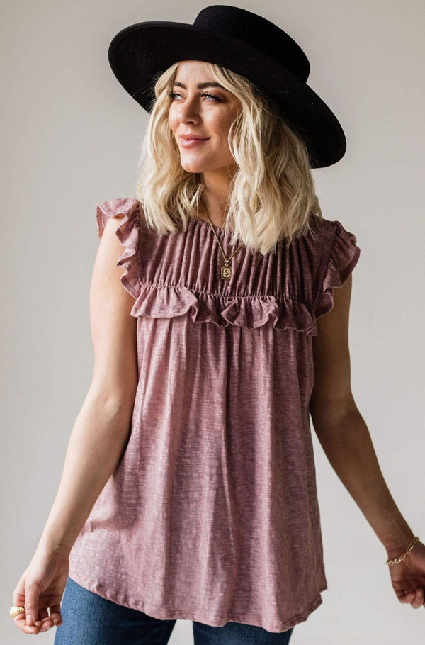 Tops Felicity Ruffled Top Mauve