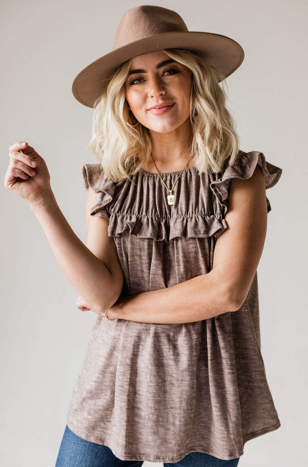 Tops Felicity Ruffled Top Mocha
