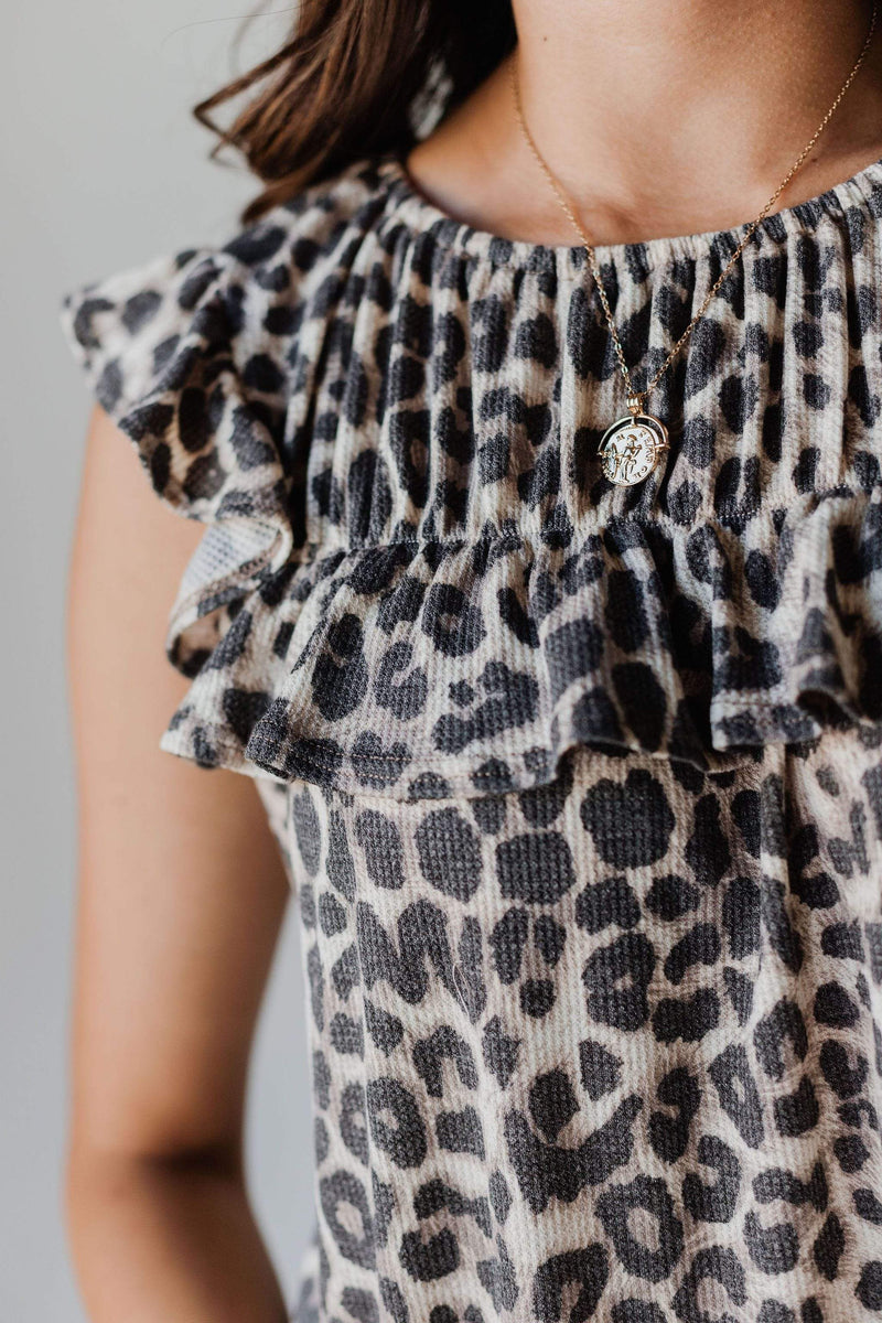 Tops Felicity Ruffled Top Oatmeal Leopard