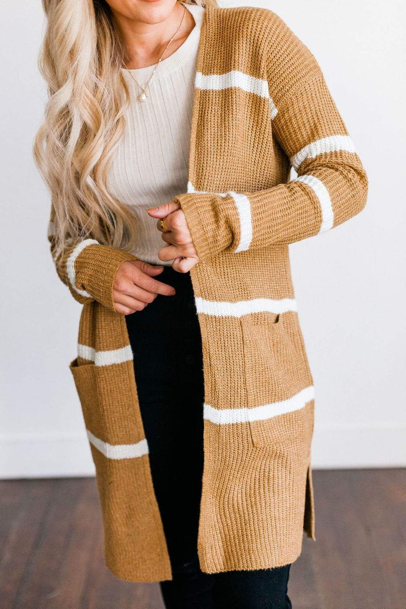 Tops Felicity Striped Cardigan Camel