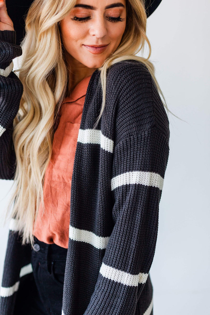 Tops Felicity Striped Cardigan Charcoal