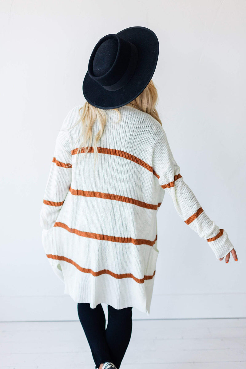 Tops Felicity Striped Cardigan Ivory