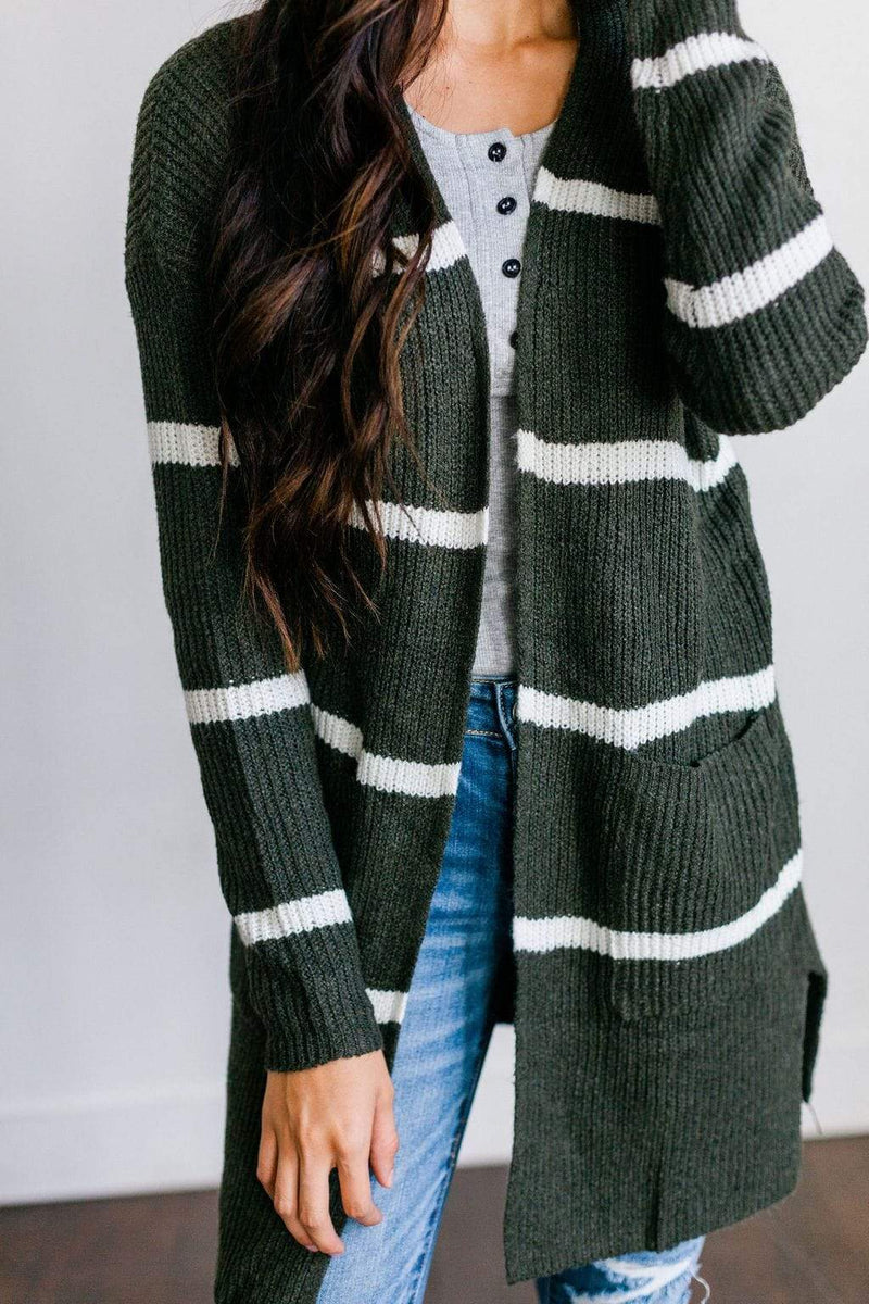 Tops Felicity Striped Cardigan Olive