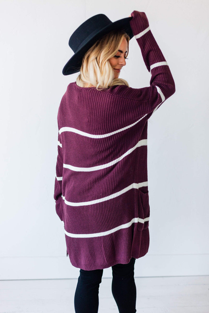 Tops Felicity Striped Cardigan Plum
