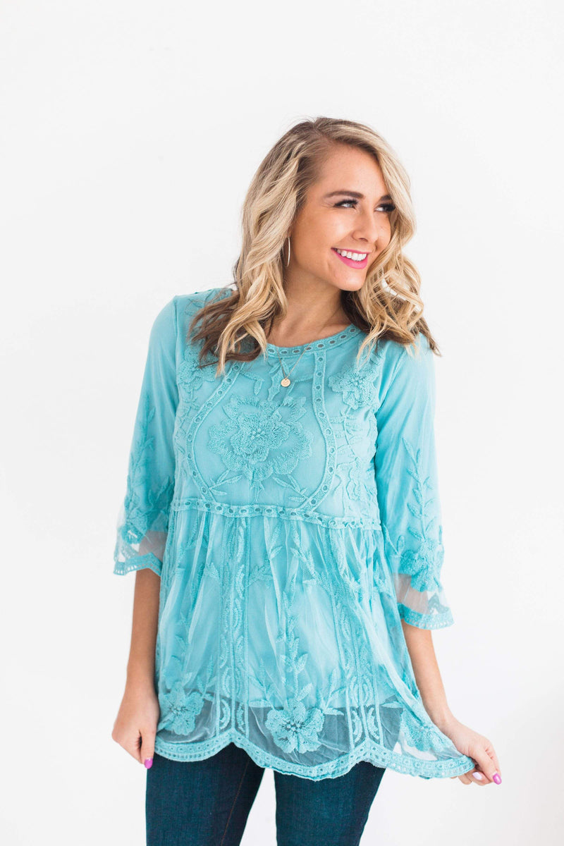 Tops Gemma Lace Overlay Top Blue