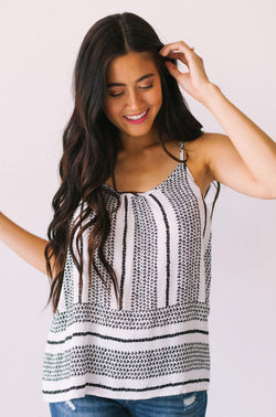 Tops Gia Pattern Tank Top White