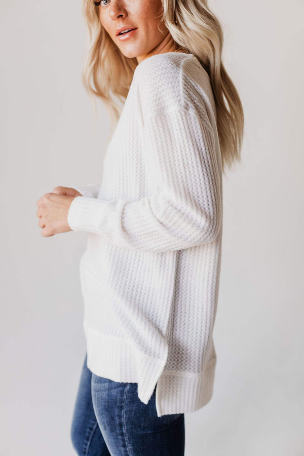 Tops Gia Waffle Knit Sweater Ivory