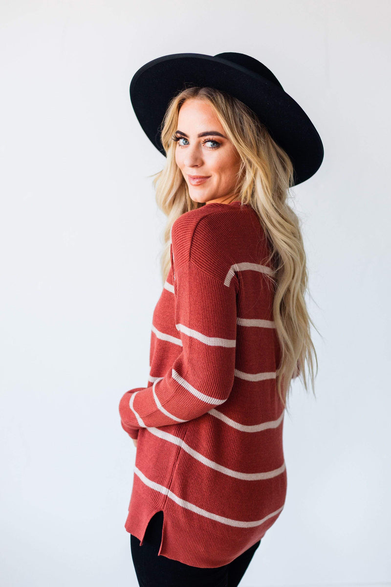 Tops Gina Striped Sweater Rust
