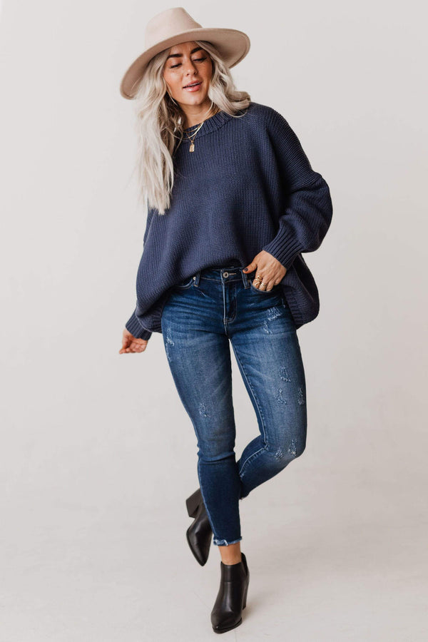 Tops Greer Oversized Sweater Moody Blue