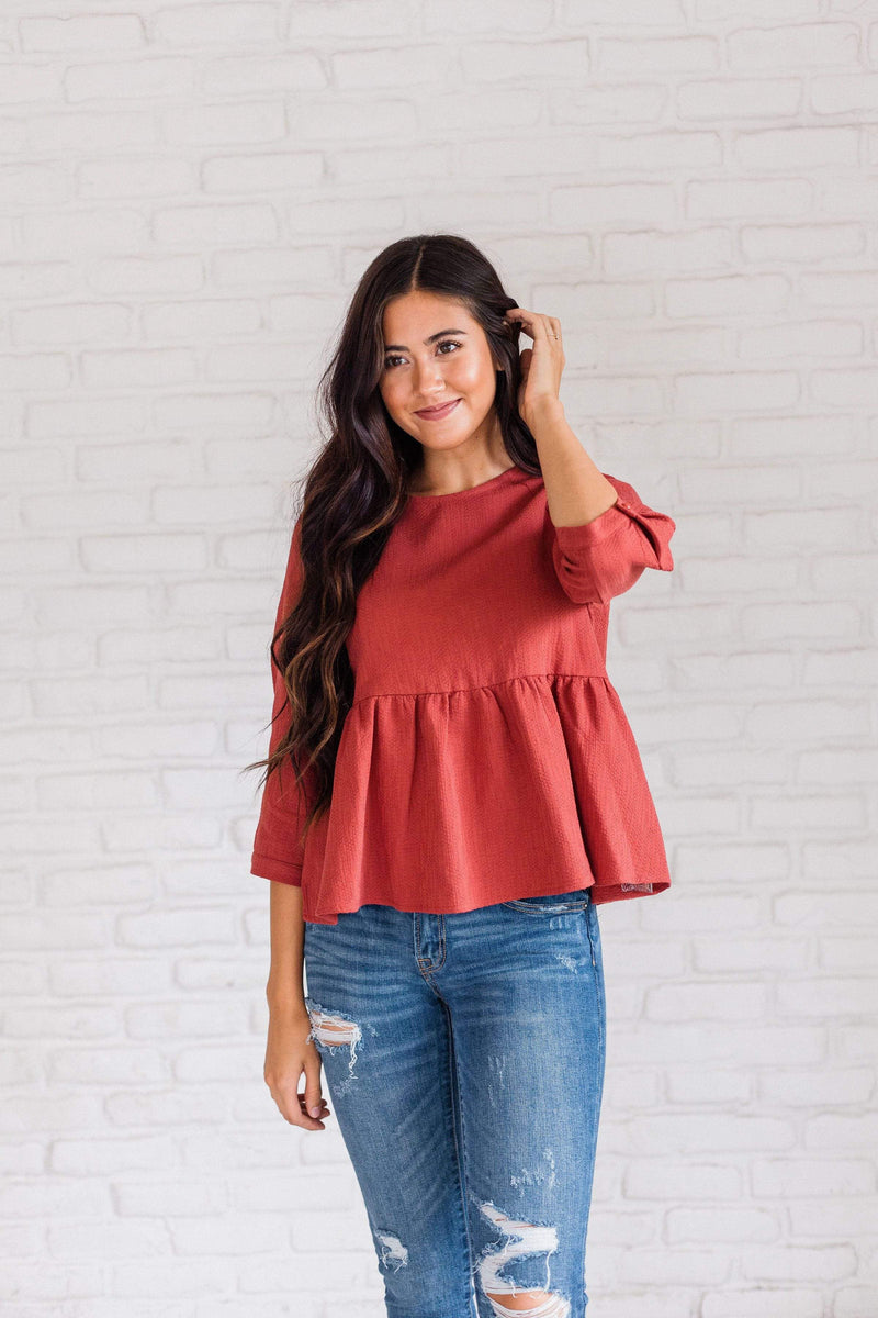 Tops Hailey Peplum Top Ginger Small