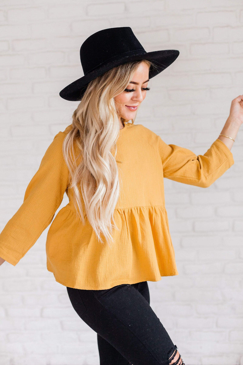 Tops Hailey Peplum Top Mustard
