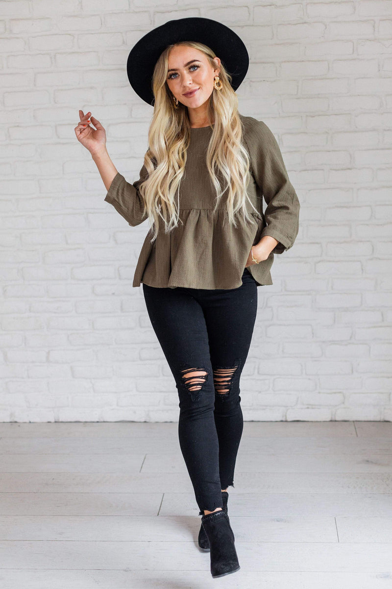 Tops Hailey Peplum Top Olive