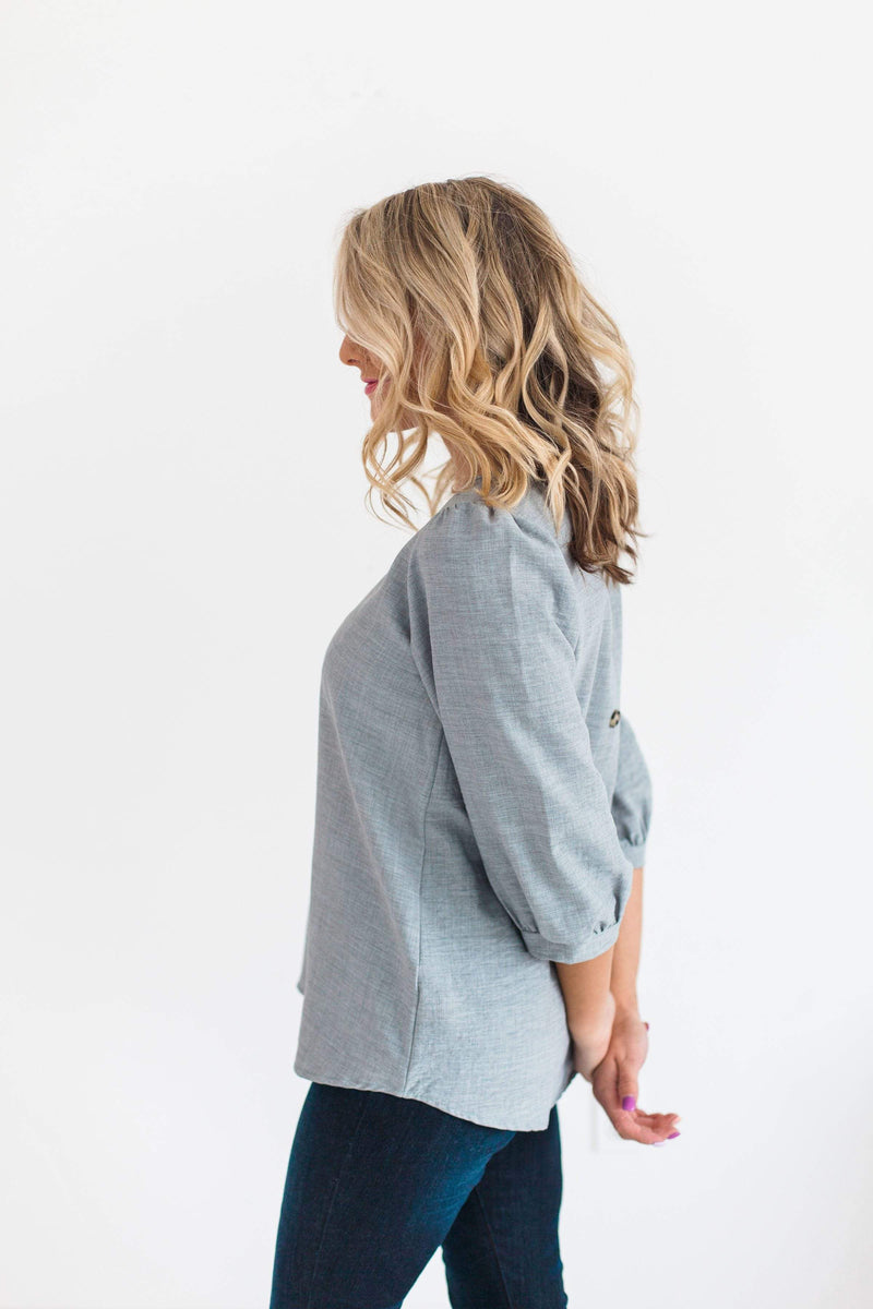 Tops Harper Button Back Top Grey