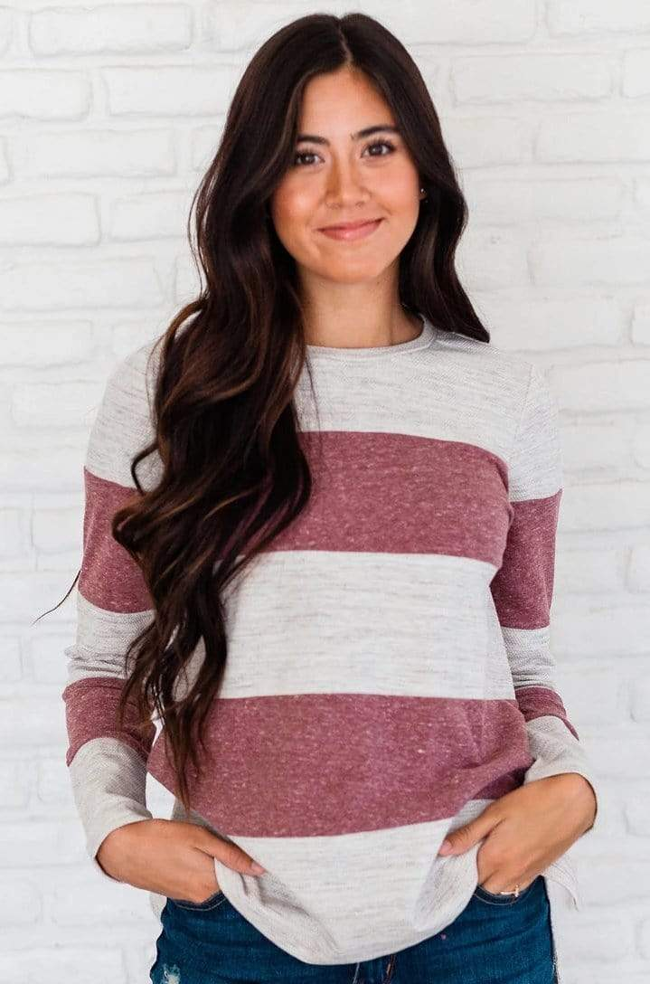 Tops Hattie Striped Top Oatmeal