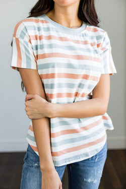 Tops Heidi Striped Tee Blue