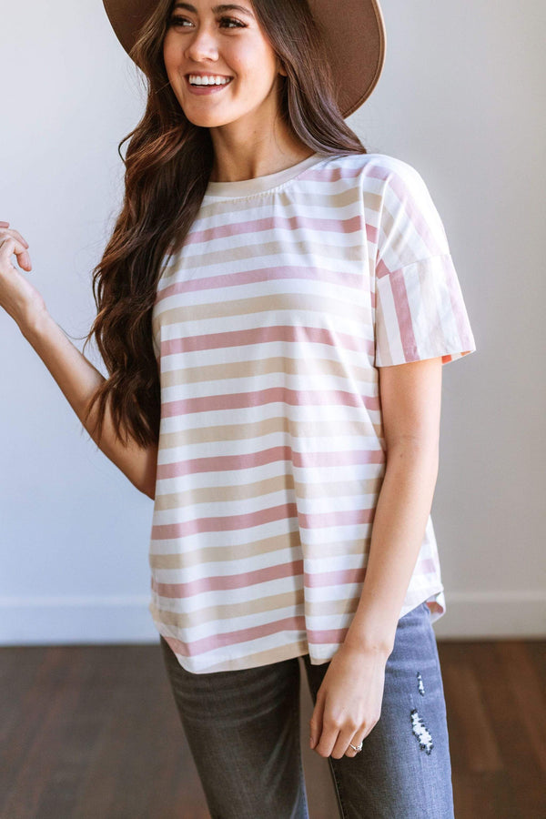 Tops Heidi Striped Tee Blush