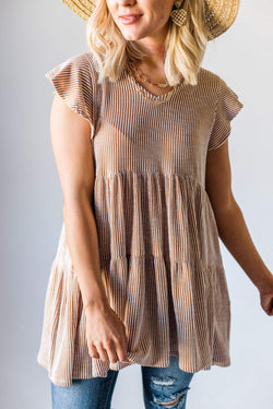 Tops Hennesey Ribbed Tunic Cinnamon