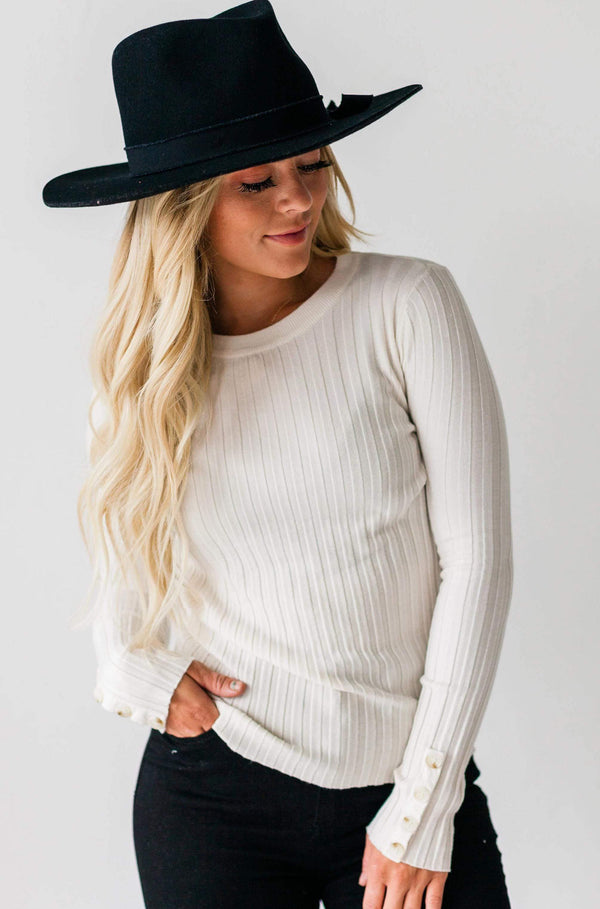 Tops Henrietta Ribbed Top Ivory