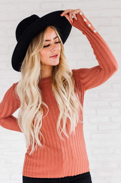 Tops Henrietta Ribbed Top Marsala